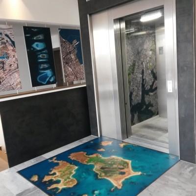 Satellitenbild als Teppichmotiv und Wandbild