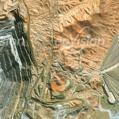Chuquicamata - Abraum der Kupfermine wird Fächerförmig angehäuft