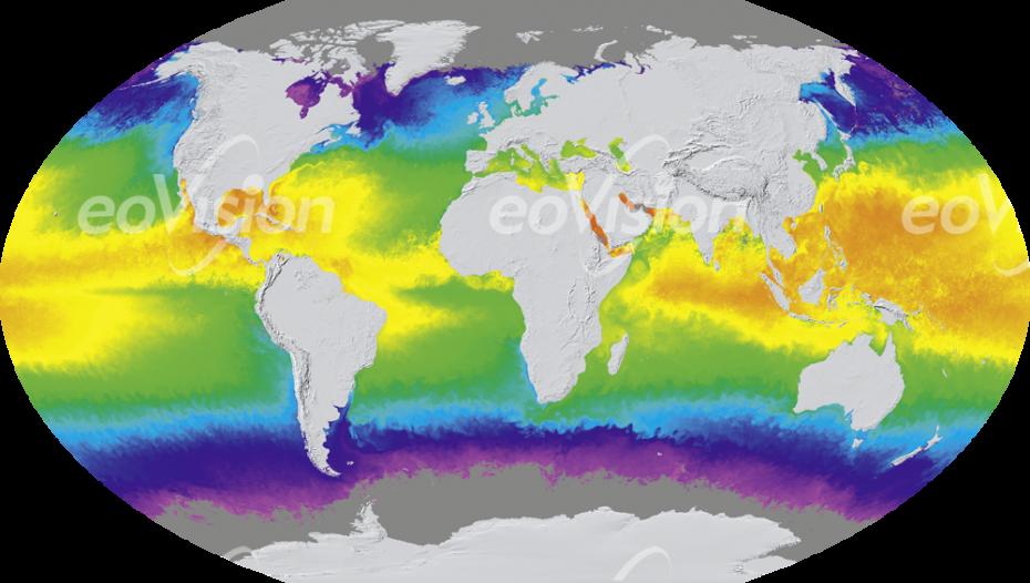 Weltkarte - Meerestemperatur