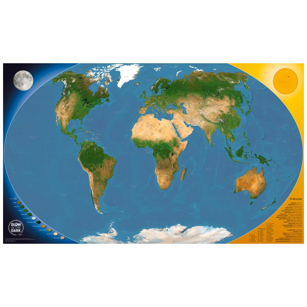 Karte Erde.Glow In The Dark Satellitenbild Weltkarte Eovision