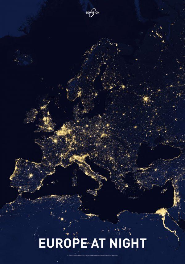 """Satellitenbildposter """"Europe at Night"""""""
