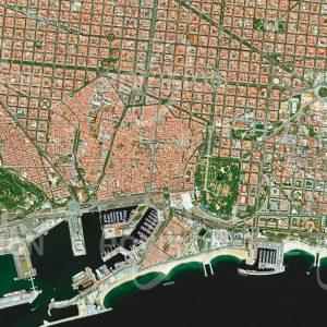 """Das Satellitenbild """"BARCELONA - ZENTRUM - Spanien"""" ist dem Bildband """"HUMAN FOOTPRINT - Satellitenbilder dokumentieren menschliches Handeln"""" entnommen. Bildbeschreibung: Um den unregelmäßig und dicht bebauten historischen Kern Barri Gotìc erstrecken sich die Stadtviertel aus dem 19. Jahrhundert, die in einem quadratischen Raster errichtet wurden. Hier sind die Bauten Antoni Gaudís zu finden, für die die Stadt berühmt ist. Am Meer anschließende Hafenanlagen mit einem Containerterminal unterstreichen die Bedeutung der Stadt als Wirtschaftszentrum."""