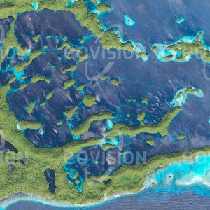 """Das Satellitenbild """"CHELBACHEB - Palau"""" ist dem Bildband """"UNTOUCHED NATURE - Naturlandschaften in Satellitenbildern"""" entnommen. Bildbeschreibung: Die Inseln waren ursprünglich ein Korallenriff, das tektonisch gehoben und durch die Brandung zu pilzförmigen Felsen geformt wurde. Auf Eil Malk liegt ein vom Meer abgetrennter Quallensee."""